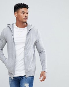 Read more about Asos muscle zip up hoodie in grey marl - grey marl