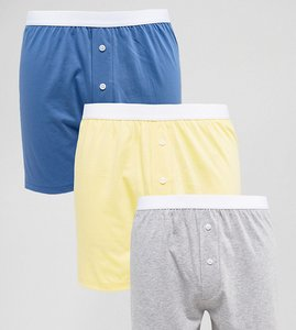 Read more about Asos jersey boxer in yellow blue grey 3 pack save - multi
