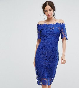 Read more about Paper dolls bardot midi lace dress - bright blue