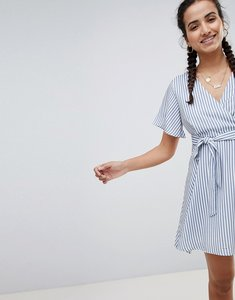 Read more about Prettylittlething striped tie side mini dress - navy and white