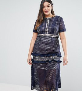 Read more about Truly you tiered premium lace midi dress - navy