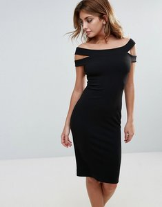Read more about City goddess double strap pencil midi dress - black