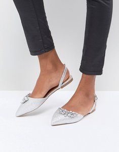 Read more about Head over heels by dune flat pointed shoe in silver with embellishment - silver glitter