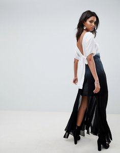 Read more about Religion maxi dress with back detail in ombre - black and white