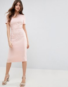 Read more about Asos crochet lace scuba bodycon midi dress - multi