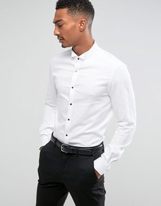 Read more about Asos slim sateen shirt with wing collar and contrast buttons - white