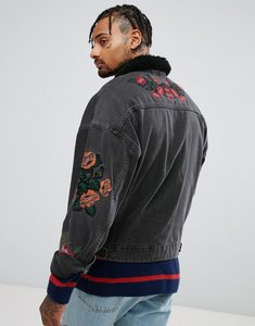 Read more about Asos denim jacket with embroidery borg collar in black wash - black