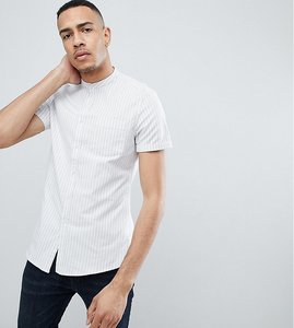 Read more about Asos tall stretch slim stripe shirt with grandad collar - blue white