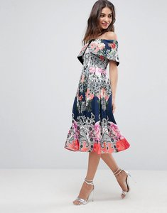 Read more about Asos bardot ergonomic floral midi prom dress - multi