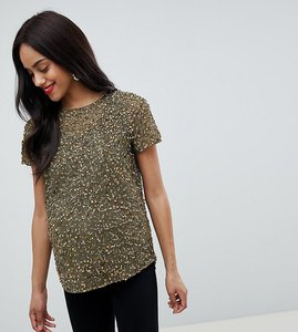 Read more about Asos design maternity t-shirt with sequin embellishment - khaki green
