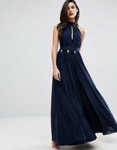 Read more about Asos halter pleated maxi dress with cut outs - navy