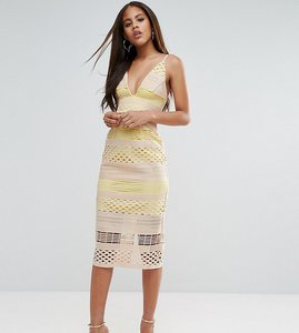 Read more about Asos tall hitchcock graphic lace midi pencil dress - yellow