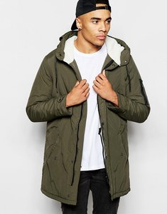 Read more about Brave soul hooded sherpa lined parka - green