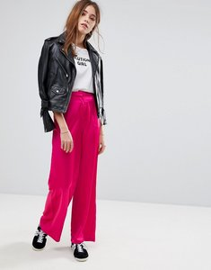 Read more about Glamorous wide leg trousers in satin - hot pink
