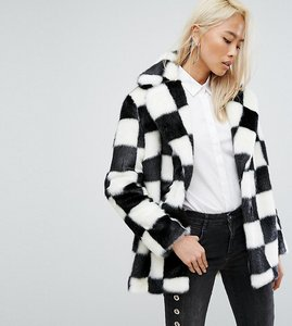 Read more about Jakke mid length faux fur coat in checkerboard - mono check