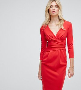 Read more about City goddess tall 3 4 sleeve pleat detail midi dress - red 20