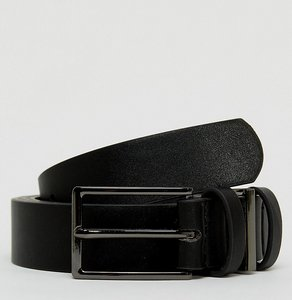 Read more about Asos plus smart slim belt in black faux leather with triple keeper - black