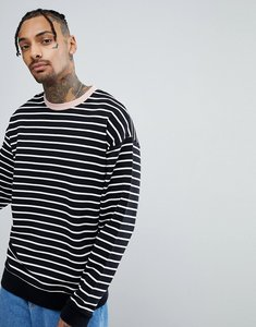 Read more about Asos striped oversized sweatshirt in black white with contrast ringer - black