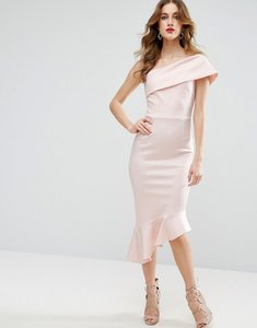 Read more about Asos scuba one shoulder pephem midi dress - pale pink