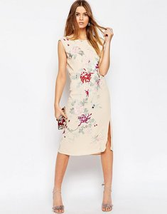 Read more about Asos premium embroidered sleeveless column dress - multi
