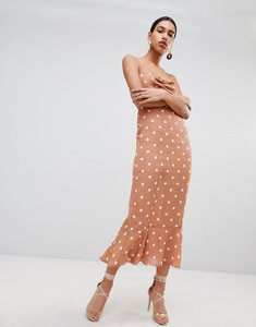Read more about Fashion union tie back maxi dress in vintage spot - apricot spot