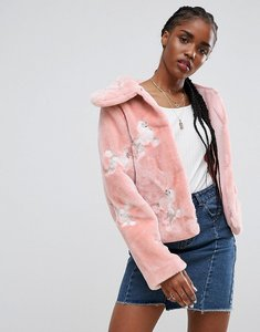 Read more about Asos faux fur jacket with poodle embroidery - multi
