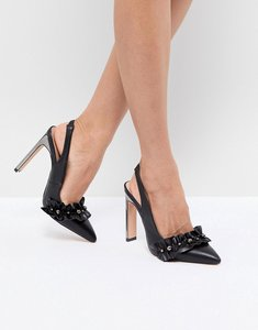 Read more about Lost ink black pearl detail ruffle heeled shoes - black