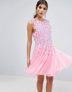 Read more about Asos salon pink floral embellished mesh fit and flare mini dress - pink