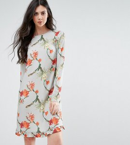 Read more about Y a s tall cactus printed dress with frill hem - multi