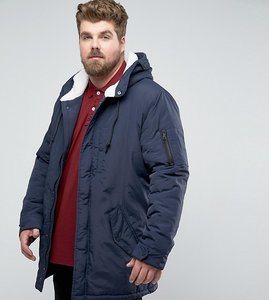 Read more about Brave soul plus brave soul plus borg lined hooded parka jacket - navy