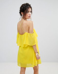 Read more about Club l frill detail chiffon dress with cross back - spectra yellow