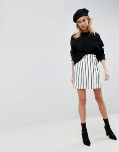 Read more about Asos tailored ruffle paperbag waist a-line mini skirt in stripe - stripe