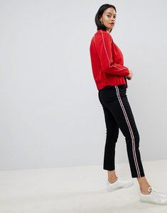 Read more about Asos design cigarette trousers in black with side stripe