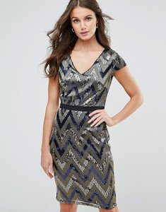 Read more about Paper dolls zig zag shimmer sequin dress - blue