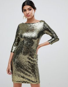 Read more about Glamorous sequin dress - gold blk seq