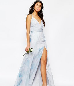 Read more about Fame and partners deco lily maxi dress with strap back - blue print