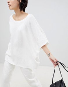 Read more about Paisie oversized t-shirt with seam detail in sleeves - white