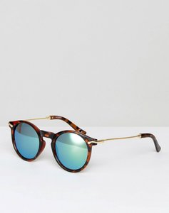Read more about Asos round sunglasses with metal arms and flash lens - tort