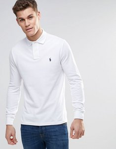 Read more about Polo ralph lauren polo shirt with long sleeves in white custom slim fit - white