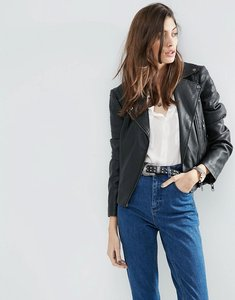 Read more about Asos ultimate leather look biker jacket with piped detail - black