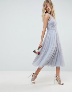 Read more about Asos wedding midi prom dress with pearl trim - blue
