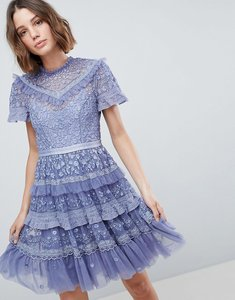 Read more about Needle thread high neck layered mini dress - lavender
