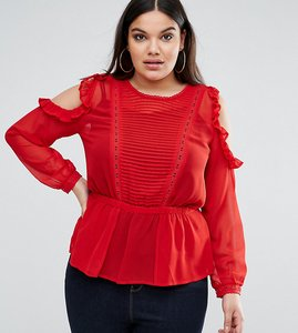 Read more about Asos curve ruffle cold shoulder blouse with pintuck front and lace insert - red