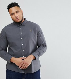 Read more about Farah brewer slim fit shirt oxford shirt in grey - grey