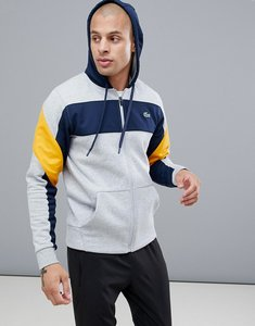 Read more about Lacoste sport hoodie colour block sweat in grey - grey