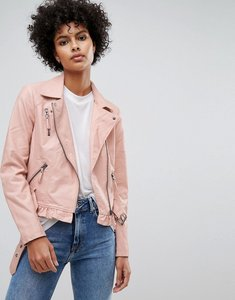 Read more about Vero moda leather look belted biker jacket - rose