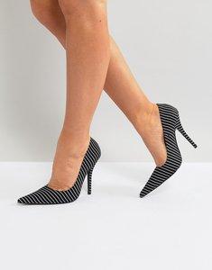 Read more about Public desire tease black striped court shoes - black stripe