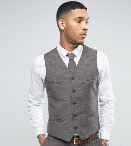 Read more about Noak skinny wedding suit waistcoat in linen nepp - brown
