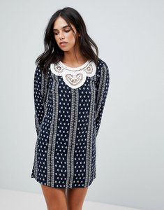 Read more about The english factory long sleeve dress with crochet trim - dark navy