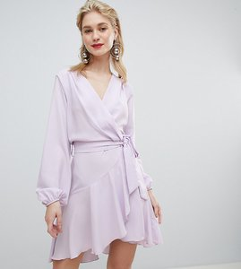 Read more about Flounce london wrap front mini dress in lilac - lilac